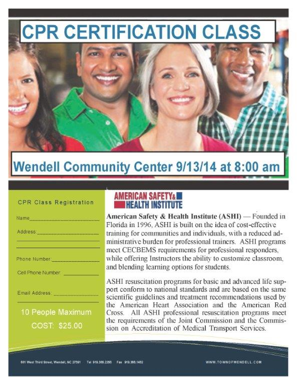 CPR Certification Class Sat - Sept 13 @ 8am WCC - Town of Wendell